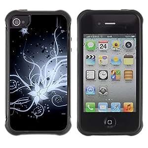 "Pulsar iFace Series Tpu silicona Carcasa Funda Case para Apple iPhone 4 / iPhone 4S , Flor de la flor blanca Noche Negro Art Dibujo"""