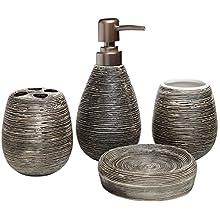 MyGift 4 Pc Line Textured Dark Brown Ceramic Soap Dish, Soap Dispenser, Toothbrush Holder & Tumbler Bathroom Set