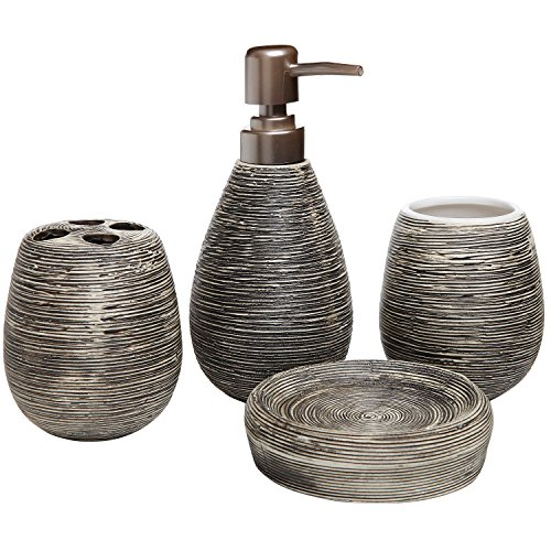 4 Pc Line Textured Dark Brown Ceramic Soap Dish, Soap Dispenser, Toothbrush Holder & Tumbler Bathroom ()