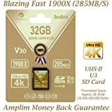 Amplim 32GB UHS-II SDHC SD Card Blazing Fast Read 285MB/S (1900X) Class 10 U3 Ultra High Speed V30 UHSII Extreme Pro SD HC Memory Card. Professional 4K Full HD Video Shooting 32 GB/32G TF Flash. New