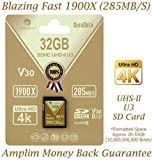 Amplim 32GB UHS-II SDHC SD Card Blazing Fast Read 285MB/S (1900X) Class 10 U3 Ultra High Speed V30 UHSII Extreme Pro SD HC Memory Card. Professional 4K Full HD Video Shooting 32 GB / 32G TF Flash. New