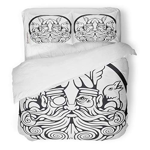 Semtomn Decor Duvet Cover Set Twin Size Norse Scandinavian God Odin and His Ravens Barbarian Beard 3 Piece Brushed Microfiber Fabric Print Bedding Set Cover