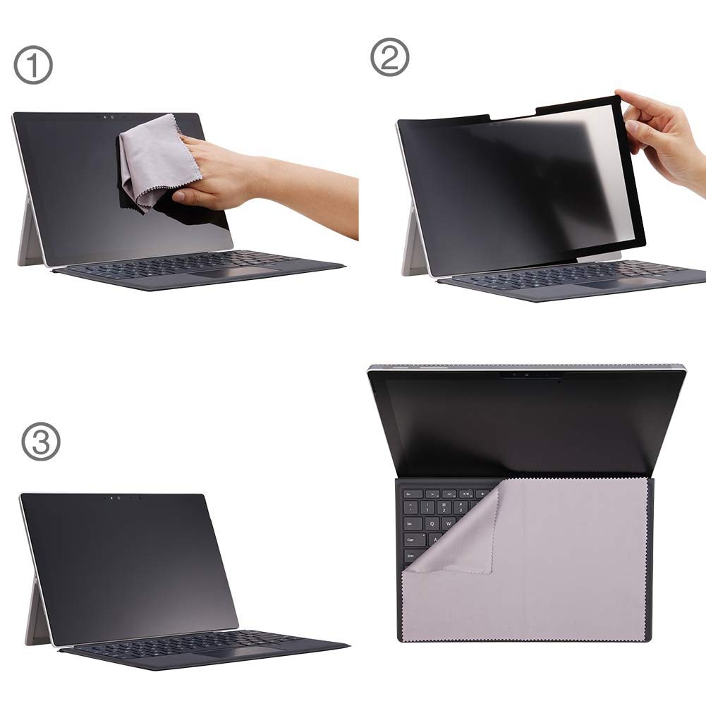 FILMEXT for Microsoft Surface Pro 6/5/4/3 Fully Removable Privacy Screen Protector Filter, Anti-Spy Filter, Anti-Glare Feature Makes (for Surface Pro 6/5/4/3 Privacy Screen Protector) by FILMEXT (Image #2)