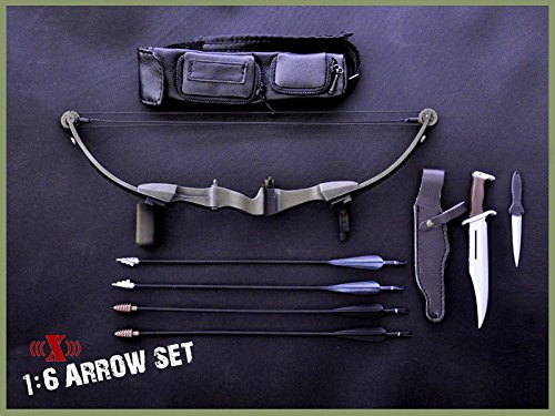 1:6 X-TOYS Model Toys First Blood Black Bow Arrow Set+Rambo Knife for 12