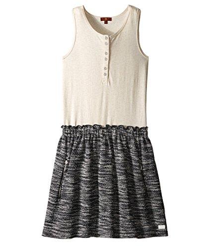 7 For All Mankind Kids Girl's Slub Jersey Henley Tank Dress (Big Kids) Marshmallow Dress XL (14 Big Kids) - Henley Tank Dress
