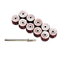 Dophee 10Pcs 240 Grit Flap Sanding Wheel Head Grinding Disc & 3mm Arbor for Rotary Tool