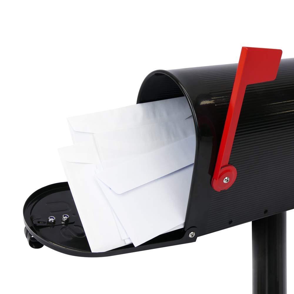 PrimeMatik Buz/ón US Mail de Aluminio para Correo Postal Americano Negro con Soporte