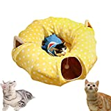 AUOON Cat Tunnel with Central Mat for Cat Dog, Soft Mink Cashmere and...