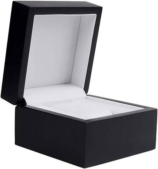 F Fityle Caja De Madera Negra De La Caja del Reloj De La Caja del Reloj De La Rejilla única con El Amortiguador: Amazon.es: Hogar