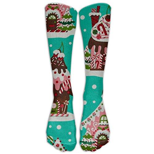Holiday Gingerbread Houses Knee High Graduated Compression Socks For Women And Men - Best Medical, Nursing, Travel & Flight Socks - Running & - Gingerbread Ingredients House