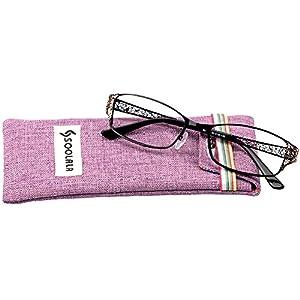 SOOLALA Women's Fashion Designer Hollow Arm Full Rimmed Reading Glasses (Black, 0)