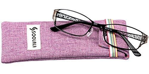 SOOLALA Women's Fashion Designer Hollow Arm Full Rimmed Reading Glasses, +3.0, - Discount Designer Glasses Reading