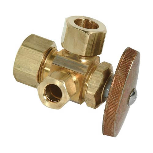 Brass Craft CR3901L R1 1/2-Inch Nom Comp by 1/2-Inch O.D. Comp by 3/8-Inch O.D. Comp Left Brass Craft CR3901L R1 Dual Outlet Stop, Rough (Comp Angle Stop)