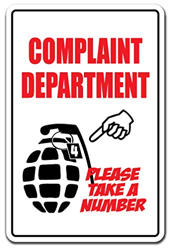 Complaint Department Wall (Complaint Department Take A Number Novelty Sign   Indoor/Outdoor   Funny Home Décor for Garages, Living Rooms, Bedroom, Offices   SignMission Funny Business Customer Service Sign Decoration)