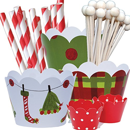 Elf Theme Christmas Party Supplies Pack, Hostess Gift, Confetti Couture, 96 Piece Kit