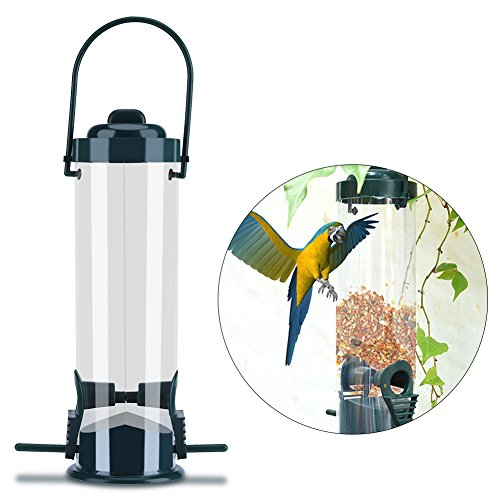 Ruiyiq Hanging Wild Bird Feeder, Weatherproof Caged Bird Feeder Hanger for Outside, Seed Container Storage with Perch Support and 2 Feeding Ports