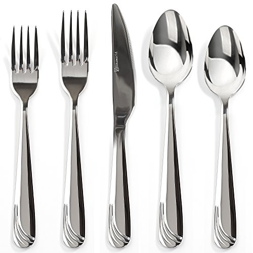 Silverware Set 18/10 Stainless Steel 20-Piece Flatware Set Mirror Polished Elegant Eating Utensil For 4 People Include Dessert Forks - Knife - Dinner Fork And Spoon Extra Thick - Dishwasher (Barton Sterling Serving Spoon)