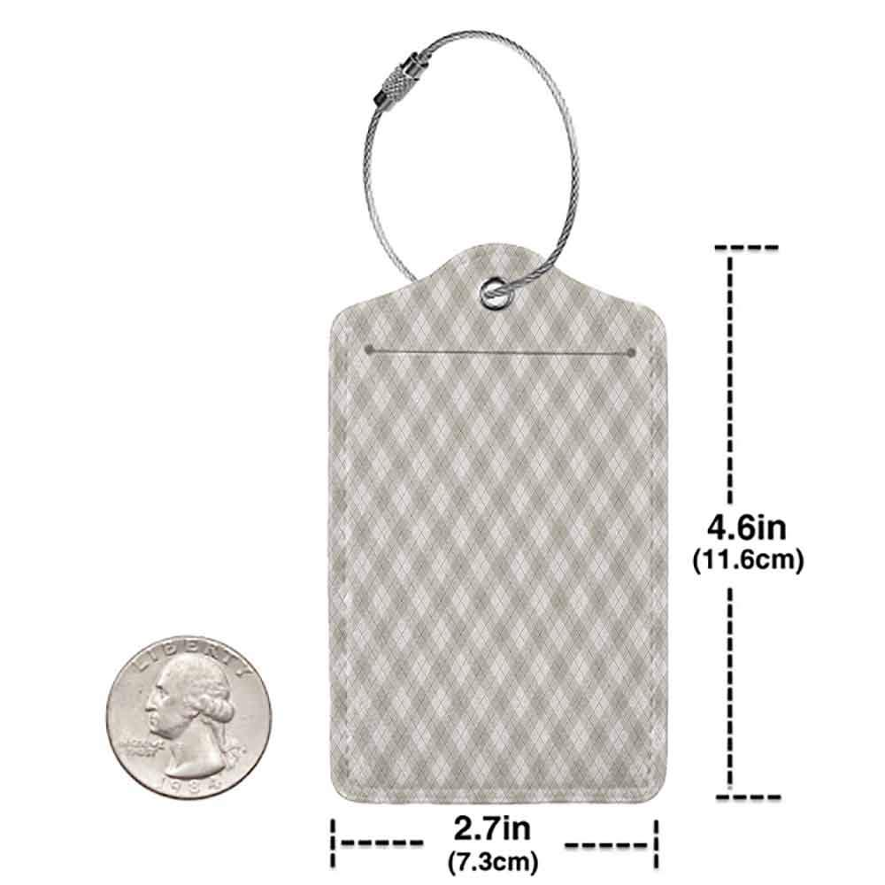 Personalized luggage tag Plaid Diagonal Pattern Geometric Simplistic Checked and Striped Tile Illustration Easy to carry Warm Taupe Pearl W2.7 x L4.6