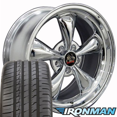 OE Wheels Fits Ford Mustang 1994-2004 Bullitt Style FR01 Chrome 18x9 Rims Ironman iMove Gen2 Tires SET