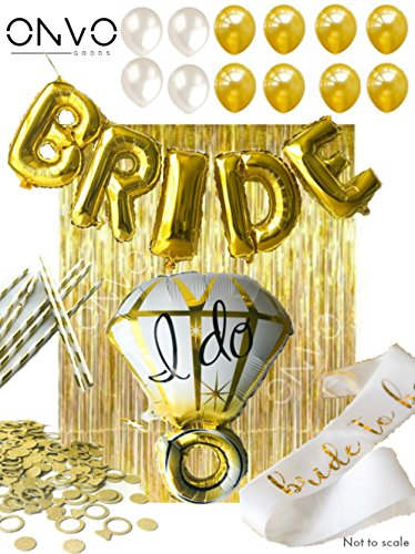 ONVO goods Bridal Shower & Bachelorette Party Decorations: Ring Foil Balloon, Bride Foil Balloon, 8 latex balloons, Metallic Silver Gold Foil Fringe Curtains, Bride Sash, Confetti, Straws.]()