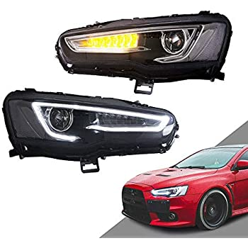 MOSTPLUS Projector Headlights W/Full Black Housing for 08-18 Mitsubishi Lancer/EVO X