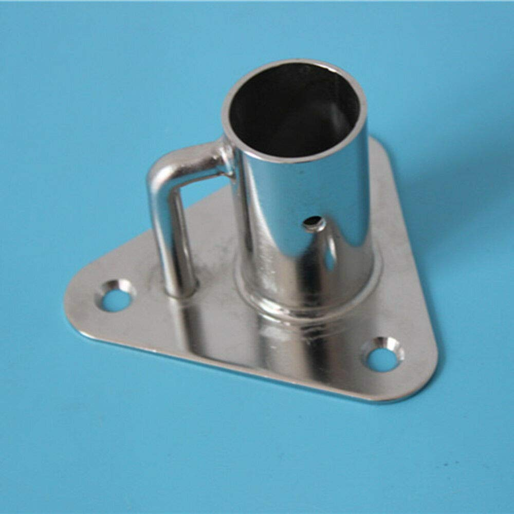 Stainless Stanchion Triangle Base Socket 90 Angle Flag Pole Socket Base,AISI 316 Stainless Steel Polished by Hoffen