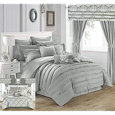Chic Home Hailee 24 Piece Comforter Set Complete Bed in a Bag Pleated Ruffles and Reversible Print with Sheet Set & Window Treatment, King, Silver