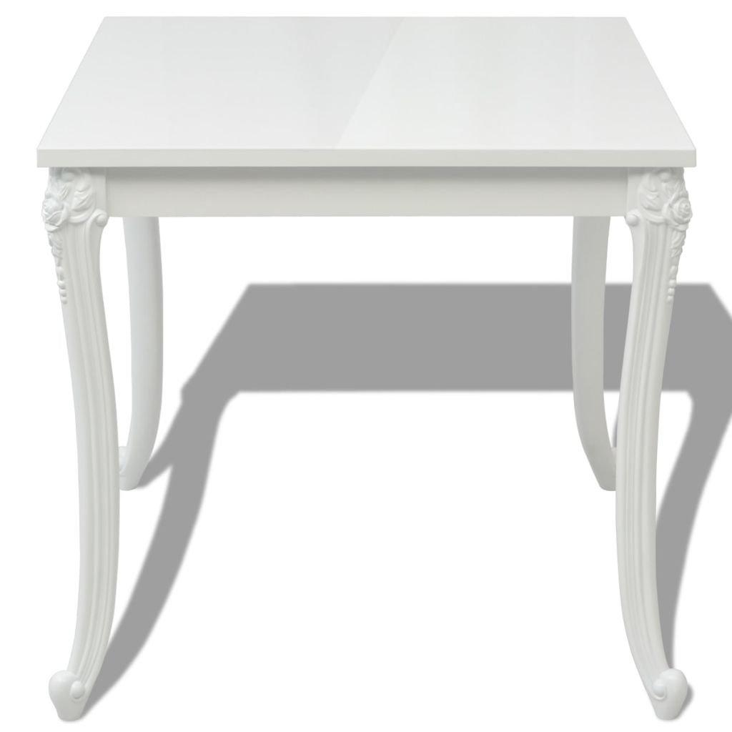 vidaXL Tavolo Tavolino Sala da Pranzo Salotto 80x80x76 cm Bianco Lucido
