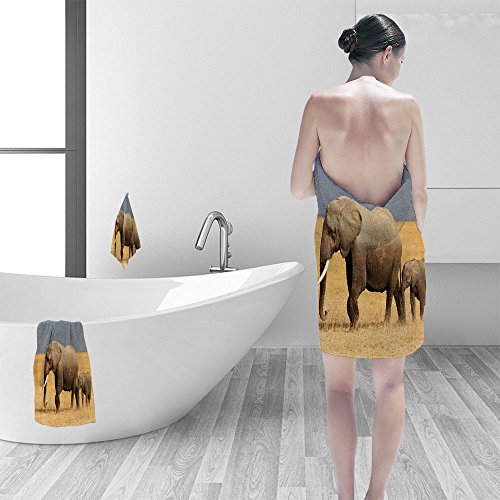 - Bath towel set African elephant (Loxodonta africana) cow young calf Amboseli National Park Kenya 3D Digital Printing No Chemical OdorEco-Friendly Non Toxic13.8 x 13.8-11.8
