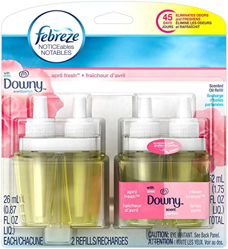 Febreze Noticeable With Downy April Fresh Scent Dual Oil Refill Air Freshener (2 Count, 1.75 Oz), 0.11 - Oil Dual Scented