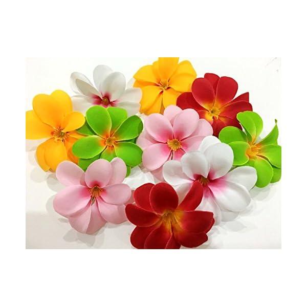 ICRAFY (50) Assorted Hawaiian Plumeria Frangipani Silk Flower Heads – 3″ Artificial Flowers Head Fabric Floral Supplies Wholesale Wedding Accessories Bridal Hair Clips Headbands Dress