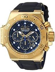 Invicta Mens Akula Quartz Gold-Tone and Leather Casual Watch, Color:Black (Model: 23103)