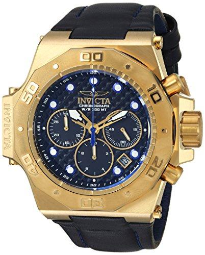 Invicta Men's 'Akula' Quartz Gold-Tone and Leather Casual Watch, Color:Black