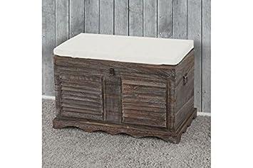 madera Asiento Banco Massivholz marrón baúl ...