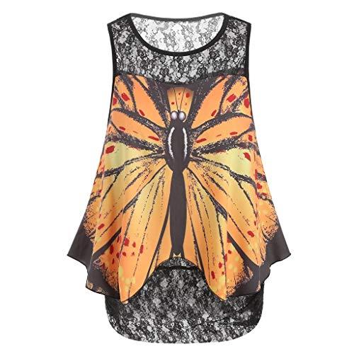 Women Lace Variegated Print Shirt,JKioleg Womens Sleeveless Overlay Plus Size Tank Top Blouse Vest (L, Yellow)