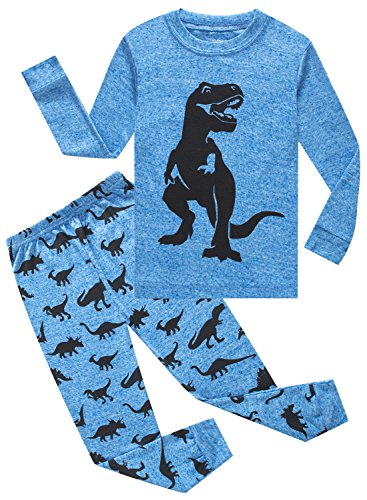 Family Feeling Dinosaur Little Boys Long Sleeve Pajamas Sets 100% Cotton Clothes Toddler Kids Pjs Size 3T Blue