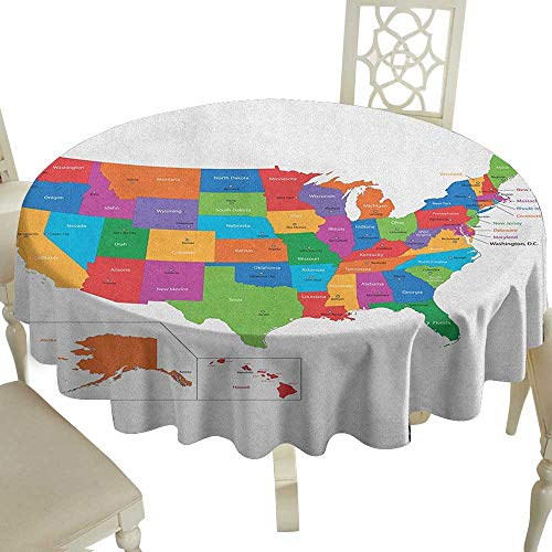 Cranekey Grid Round Table Cloth 36 Inch Wanderlust,Colorful USA Map with States and Capital Cities Washington Florida Indiana Print Multicolor Great for Buffet Table,Parties,Holiday Dinner & -