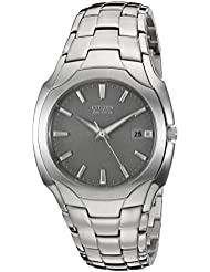 Citizen Mens Eco-Drive Stainless Steel Watch with Date, BM6010-55A