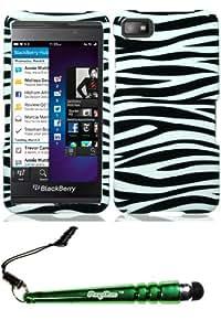 Blackberry Z10 Black White Zebra Case Cover Protector Include FoxyCase Stylus cas couverture