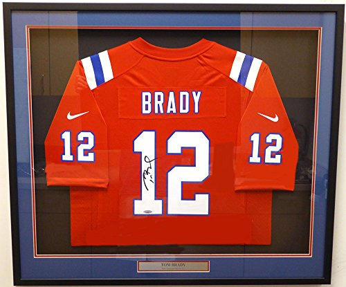New England Patriots Tom Brady Autographed Framed Red Nike Jersey TriStar (Patriots Authentic Jersey)