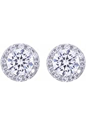 Platinum Plated Sterling Silver Cubic Zirconia Halo Stud Earrings