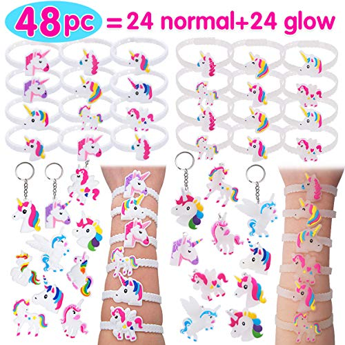 Pawliss 48pc Unicorn Bracelets Keychains, 24 Normal + 24 Glow-in-The-Dark Wristbands, Birthday Party Favors Supplies for Kids Girls, Prizes Gifts, Rubber 48 pcs ()
