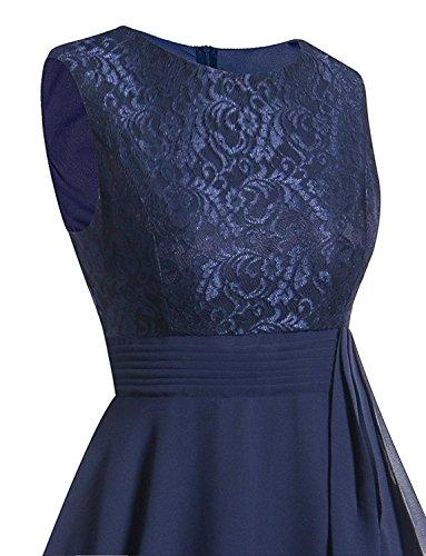 Minetom Femme Robe de Soire Taille Haut Dentelle Sans Manches Robe Mousseline de soie pour Mariage Cocktail Bleu Fonc