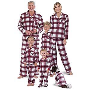 PajamaGram Christmas Pajamas for Family – Fleece Matching Pajamas, Red