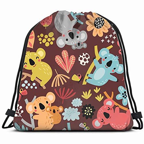 Cute Koala Animals Wildlife Drawstring Bag Backpack Gym Dance Bag Reversible Flip Sequin Bling Backpack For Hiking Beach Travel Bags
