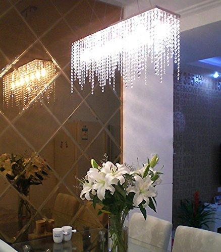 Moooni Rectangular Crystal Chandelier Modern Hanging Dining Room Pendant Lighting L31.5