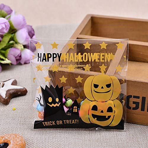 (S-Trendy-Homes - 100 Pcs Creative Happy Halloween Cookie Candy Bread Packaging bBags Self-Adhesive Plastic Bags For Biscuits Snack Baking)