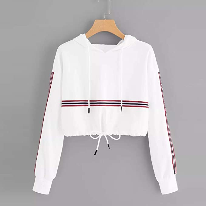 Amazon.com: Seaintheson Womens Hooded Sweatshirt, Casual Fashion Solid Stripe Print Long Sleeve Shirt Splicing Caps Sweater: Clothing