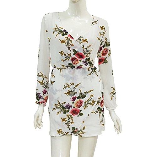 Ramida New women's clothing long-sleeved dress chiffon irregular hem elastic waist beauty tress (M, White)