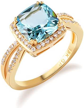 GULICX Jewelry Trendy Rings Light Blue Crystal Rhinestone Ring Gold Tone Finger Ring Size 7,8,9,10